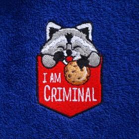 Халат махровый детский «Енотик», цвет синий, размер 30 - фото 1394989