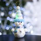 "Игрушка световая ""Снеговик в синей шапочке"" (батарейки в комплекте), 6х17 см, 1 LED, СИНИЙ"