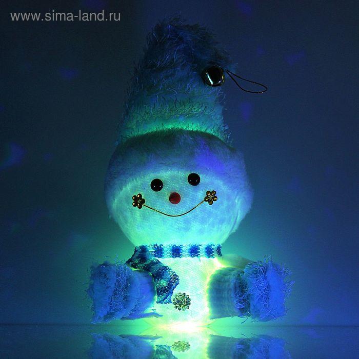 """Игрушка световая """"Веселый снеговик"""", 13х31 см, голубой, батарейки в комплекте"""