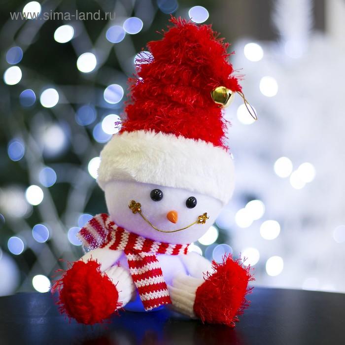 """Игрушка световая """"Веселый снеговик"""", 13х31 см, красный, батарейки в комплекте"""