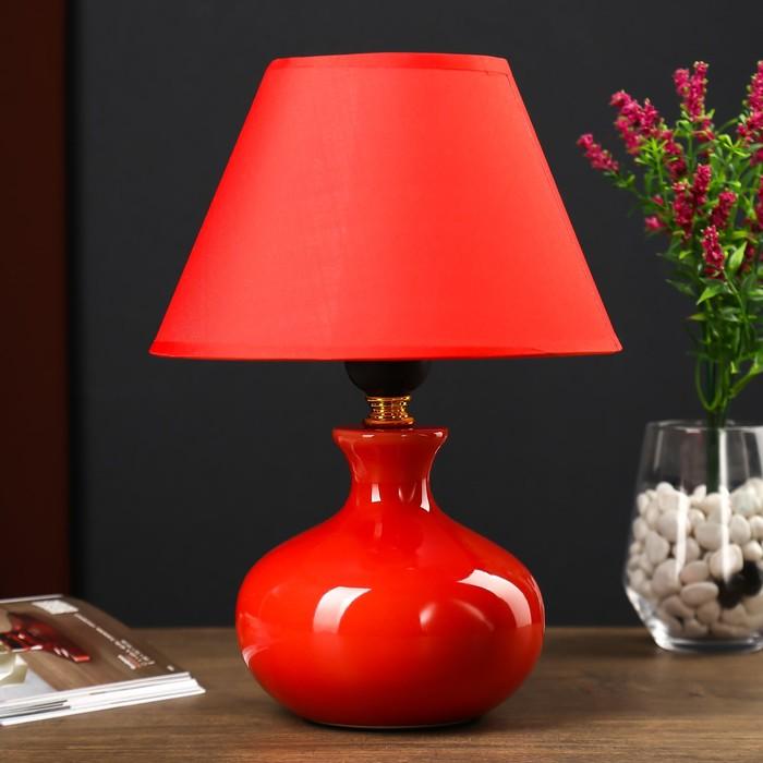 Настольная лампа 7104 1х60W E27 красный 20х28 см