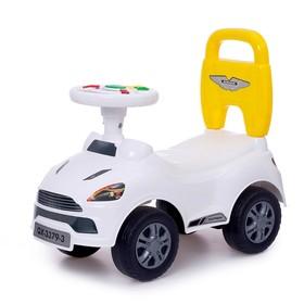Толокар «СуперКар», световые и звуковые эффекты, цвет белый