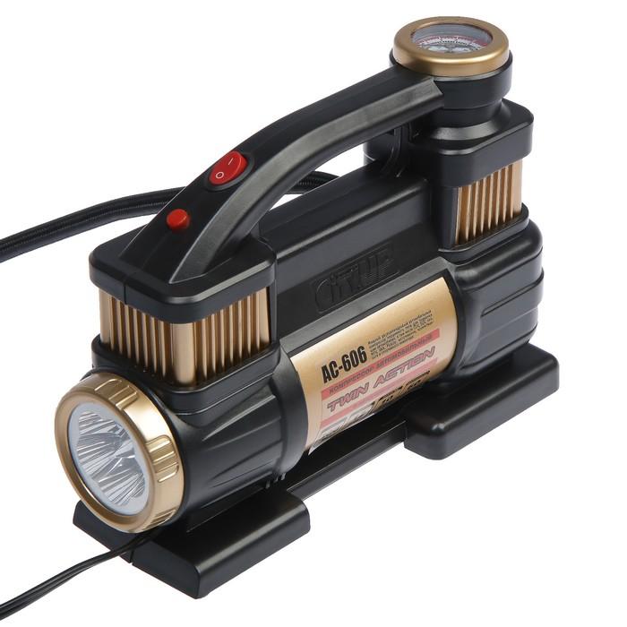 Компрессор автомобильный CityUP, АС-606, 12 В, 300 Вт, 10 атм, 60 л/мин, двухцилиндровый