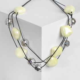 """Beads """"Spring"""" cubes with crystals, 45cm, color beige"""