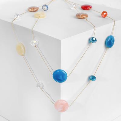 """Бусы """"Изящество"""" круги с кристаллами, разноцветные, 70см"""
