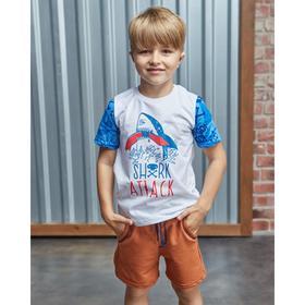 """Boy's t-shirt KAFTAN """"Surf"""" the shark, R. 34 (122-128 cm), white"""