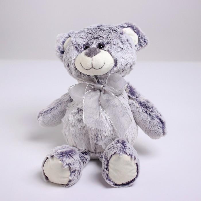 Мягкая игрушка «Медвежонок с бантом», 25см, цвет серый - фото 1055436