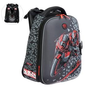 Рюкзак каркасный Hummingbird T, 37.5 х 29 х 19, для мальчика, Moto Racing, серый/красный
