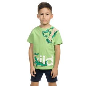 Комплект для мальчика из футболки и шорт, рост 92 см, цвет зелёный