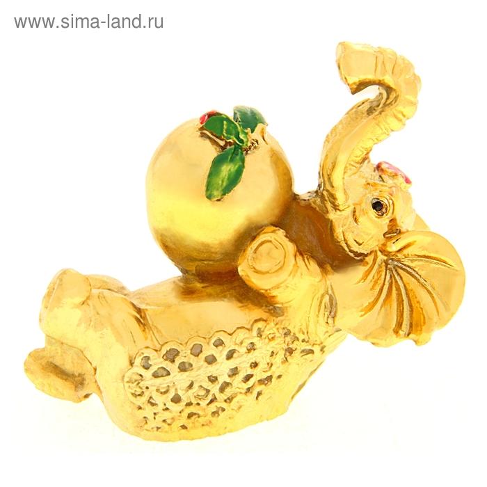 """Нэцкэ под золото """"Слон с персиком"""" (стабильность и устойчивость)"""