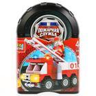 Конструктор «Пожарная машина», 63 детали в банке