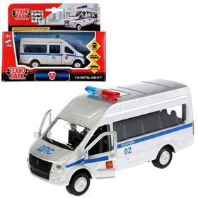 """Машина металл """"ГАЗ Газель NEXT полиция"""", 12 см, открыв. двери, инерц. SB-18-19-P-WB"""