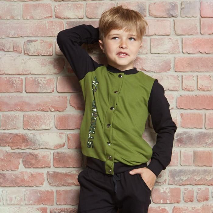 "Бомбер KAFTAN ""Boy"" р.30 (98-104 см), зелёный/чёрный - фото 1945045"