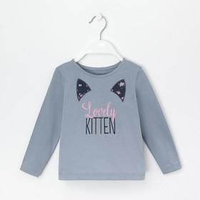 """Лонгслив для девочки KAFTAN """"Kitten"""" р.30 (98-104), серый"""