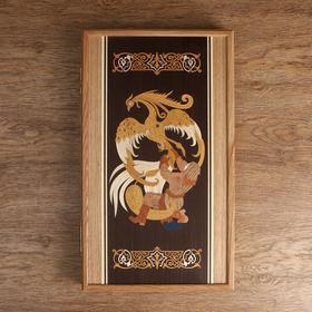 "Carved backgammon ""the Firebird"", oak, pattern marquetry 50х58 cm"