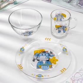 Набор посуды «Робокар Поли», 3 предмета
