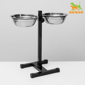 Stand with bowls, 2 x 700 ml, height 40 cm, collapsible, black