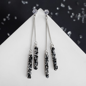 """Earrings dangling with crystals """"Studio"""" on a chain, black-white"""