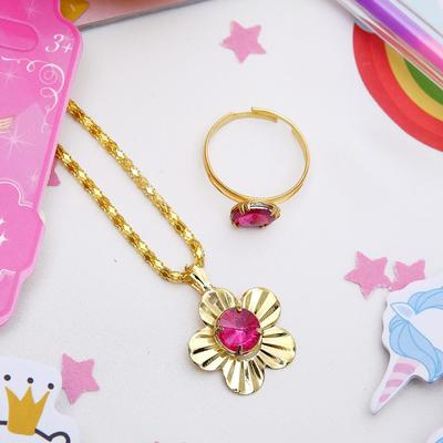 "Children set ""Vibracula"" 2 items: pendant, ring, flowers, MIX color gold"