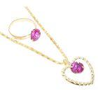 """Набор """"Выбражулька"""" 2 предмета: кулон, кольцо, сердечко, цвет МИКС в золоте"""