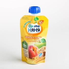 Пюре ФРУТОНЯНЯ яблоко/персик/овсяные хлопья для детей раннего возраста 130г