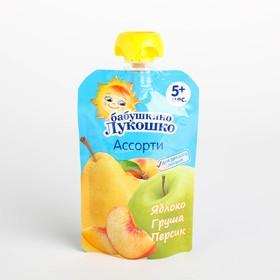 Пюре Бабушкино лукошко яблоко/груша/персик 90г м/у