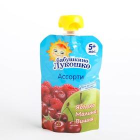Пюре Бабушкино лукошко яблоко/малина/вишня 90г м/у