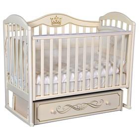 Кроватка «Кедр» Emily-3, универсальный маятник, ящик, цвет слоновая кость