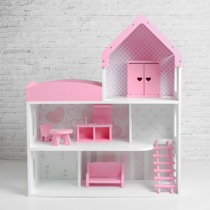 Кукольный дом «Мармелад» с обоями и набором мебели