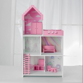 Кукольный дом «Бисквит» с обоями и набором мебели