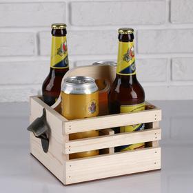 Ящик для пива 19×18×18.5 см  с открывашкой, под 4 бутылки, деревянный