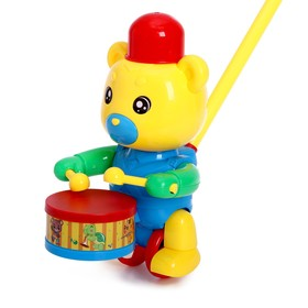 Каталка на палке «Медведь-барабанщик», цвета МИКС