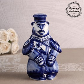 "Bottle ""Bear-General"", Gzhel, 20x12,5 cm"
