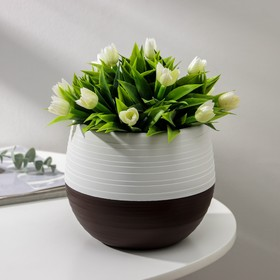 Горшок для цветов «Япония» 1,2 л, цвет белый-темно-коричневый