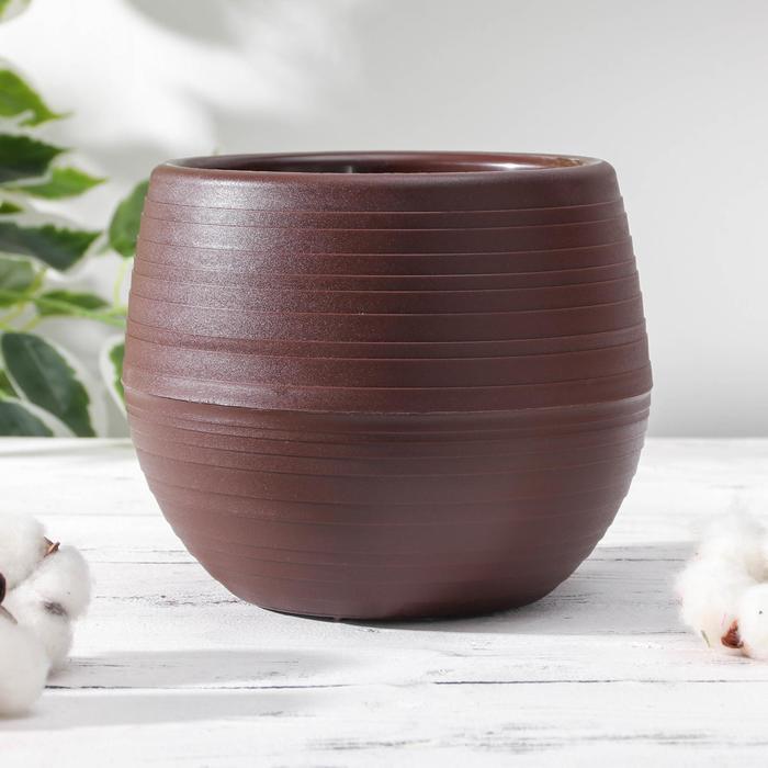 Горшок для цветов Петропласт «Япония», 1,2 л, цвет тёмно-коричневый - фото 841053