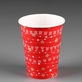 """Стакан """"Праздничный"""" красный, для горячих напитков 350 мл, диаметр 90 мм"""