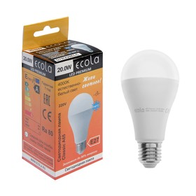 Лампа светодиодная Ecola, А65, Е27, 20 Вт, 4000 К, 130 х 65 мм, матовый шар