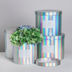 Набор шляпных коробок для цветов 4 в 1 с голографией «С любовью», 14 × 13 см - 20 × 17,5 см