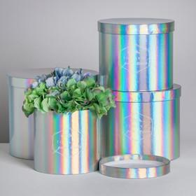 Набор шляпных коробок для цветов 4 в 1 с голографией «Только для тебя», 14 × 13 см - 20 × 17,5 см