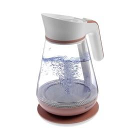 Чайник электрический ENERGY E-297, 2200 Вт, 1.5 л, стекло, бело-коралловый