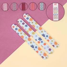 "Set of nail files-emery glass-dust ""Classic"" abrasive 240/240, 3 piece, 18 cm, MIX color"