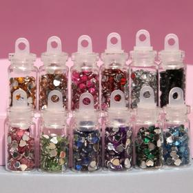"Rhinestones for nail art ""Hearts"", 12 bottles, MIX color"