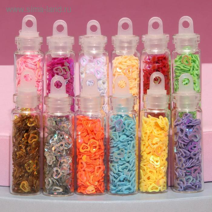 """Пайетки для декора ногтей """"Звёздочки, сердечки"""", 12 бутылочек, цвет МИКС"""