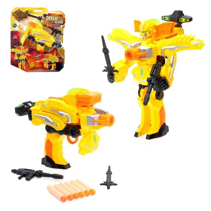 Робот «Бластер», трансформируется в робота, стреляет мягкими пулями, цвет жёлтый - фото 105503331
