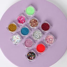 Ассорти декора для ногтей, 12 баночек, цвет МИКС
