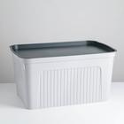 Короб для хранения с крышкой «Юнит», 27 л, цвет серый
