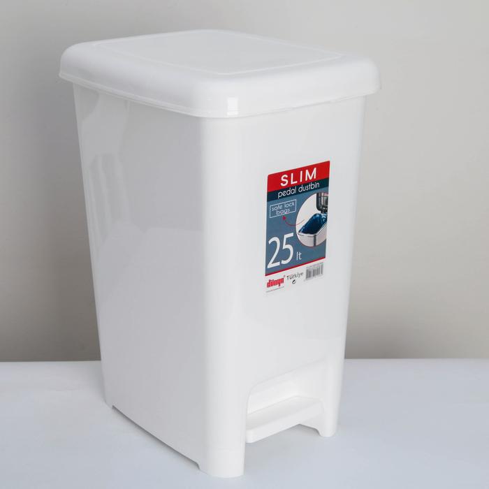 Ведро для мусора с педалью «Слим», 25 л, цвет белый