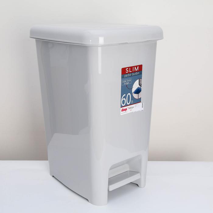 Ведро для мусора с педалью «Слим», 60 л, цвет светло-серый