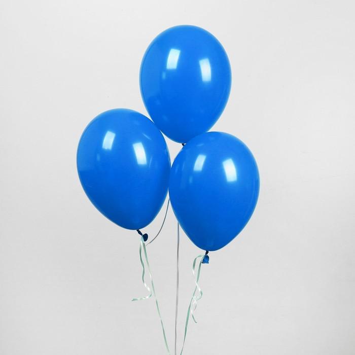 """Шар латексный 12"""", пастель, набор 5 шт., цвет синий - фото 953184"""