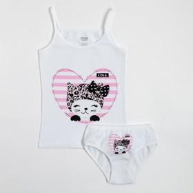Комплект (майка, трусы) для девочки, цвет белый/кошка, рост 140-146 см